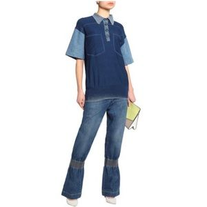 NWT Stella McCartney Denim Panel Jersey Polo 36
